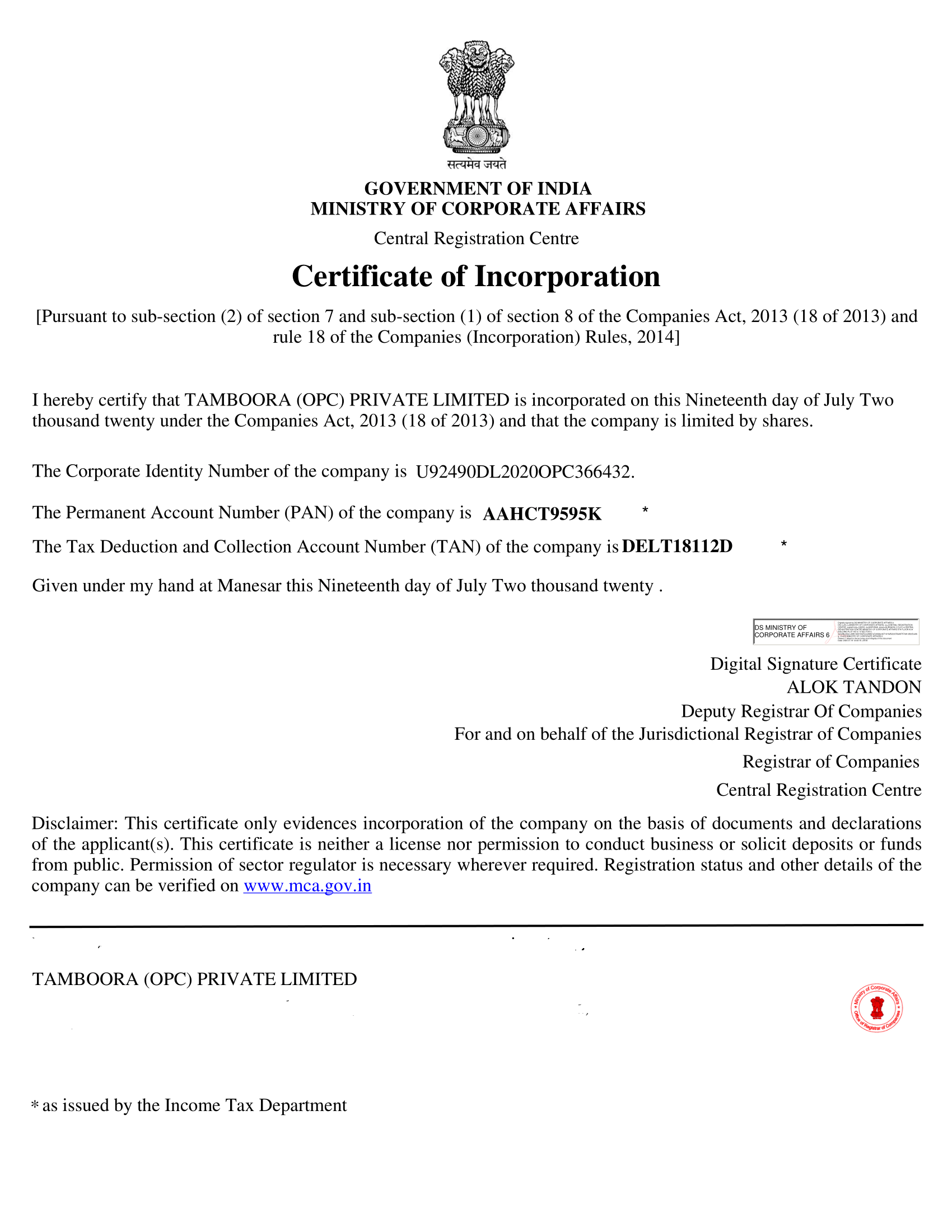 TAMBOORA - CERTIFICATE OF INCORPORATION