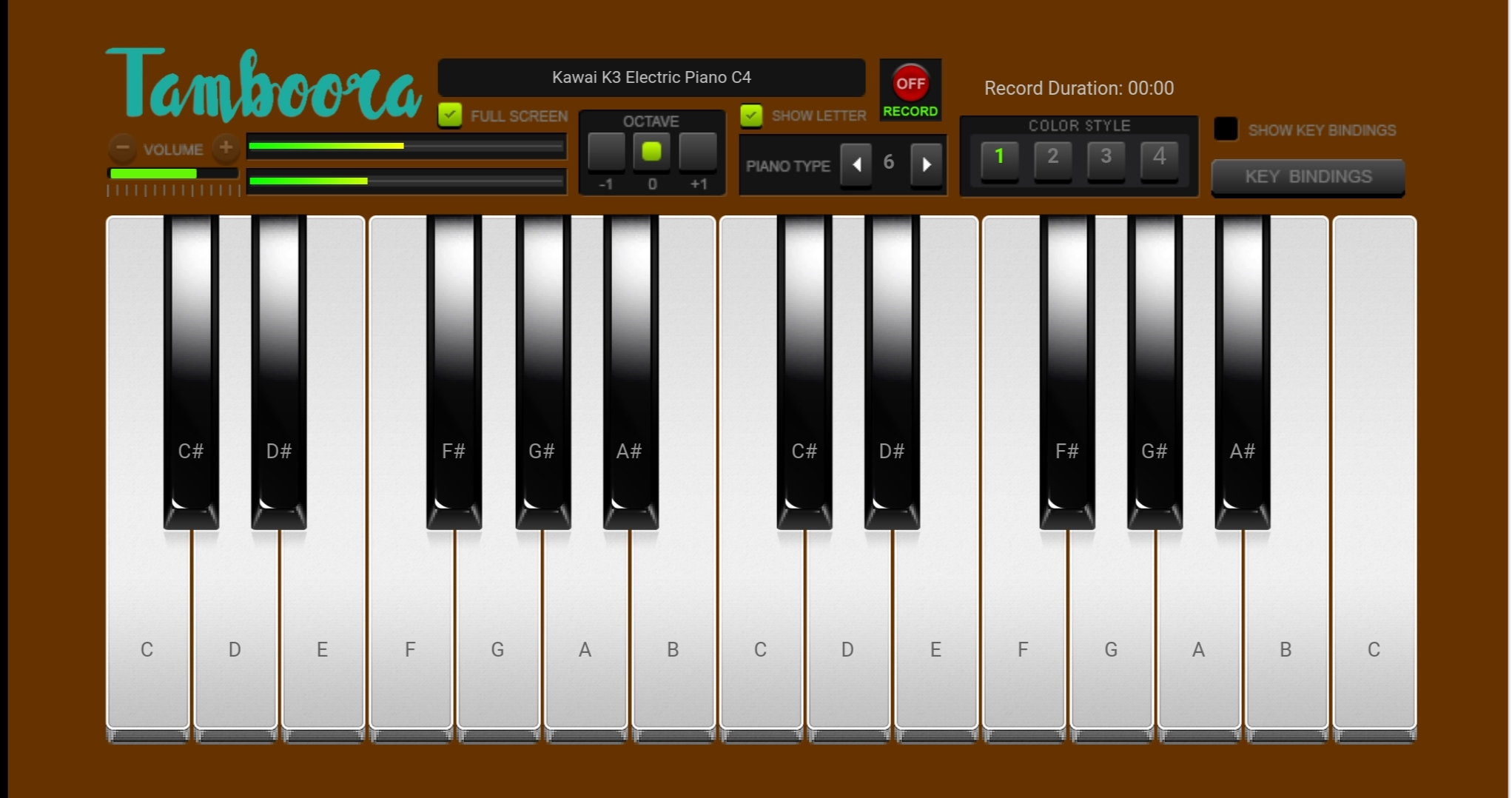 Virtual Online Piano Tamboora.in